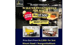 Per seat Rs 3000 Coworking office space for rent at chennai